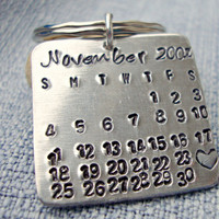 Hand Stamped Aluminum Save the Date Mark the Date Calendar Keychain