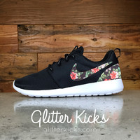 Nike Roshe One Customized by Glitter Kicks - BLACK / WHITE / BLK TROPICAL PRINT