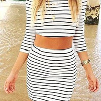 Black And White Striped Crop Top and Skirt Set