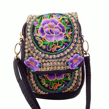 Ethnic Boho Embroidered Purple Peonies Vintage Canvas Beach Coin/Phone Bag