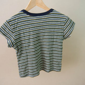 9bb3ba8ec507f4 90s Striped Green Crop Top - Striped Crop Top V Neck Crop Top Striped Tee  90s Crop Top