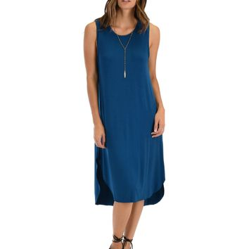 Lyss Loo Mood And Melody Side Slit Teal T-Shirt Dress