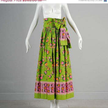 10% OFF Vintage 60s Lilly Pulitzer High Waist Maxi Skirt Green Pink Floral Designer Tie Wrap Belt
