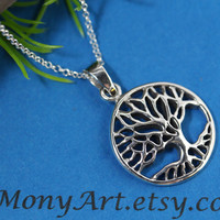 Tree of life Necklace on Sterling Silver. Family Tree on Sterling Silver . Beautiful Mothers gifts . Grandmother. Silver Jewelry