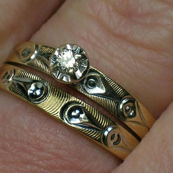 Vintage Wedding Rings Set: Retro era Evil Eye Solitaire, Guilloche