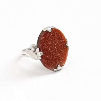 Sale - Vintage Sterling Silver Goldstone Ring- Size 5 Hallmarked Clark & Coombs Oval Adventurine Glass Jewelry