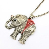 Kitty-Party Fashion Personal Decoration Necklace Pendant Red Jewelry Crystal Elephant Stylish Necklace with Chain