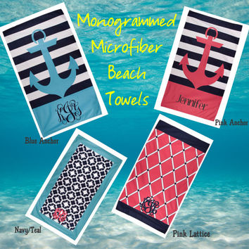Monogrammed Microfiber Beach Towels - Personalize Beach Vacation Must Have!