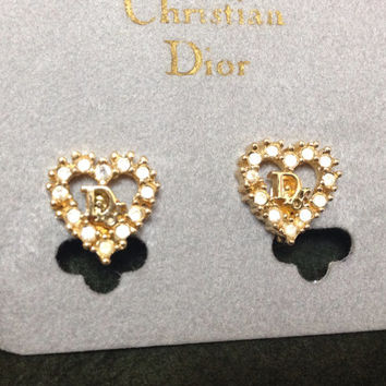 MINT. Vintage Christian Dior heart shape earrings with CD motif and rhinestone crystals. Great gift idea