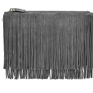LMFYW3 Mighty Purse Smartphone Charging Wristlet Fringe Suede Grey