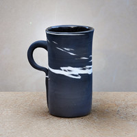 Beer Coffee Latte Mug 19 oz Contemporary Ceramic Black and White Clays