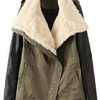 ROMWE PU Panel Pocketed Cool Coat
