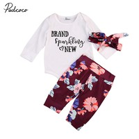 3Pcs Cllothes Set!! Toddler Baby Girls Flower Tops Bodysuit Jumpsuit +Pants+Hairband Outfit Clothes Set