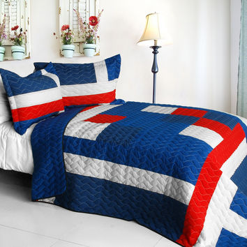 Navy Vermicelli Quilted Patchwork Geometric Quilt Set Full/Queen