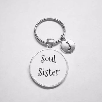 Choose Initial, Soul Sister Letter Gift For Sister, Best Friend Mom Keychain
