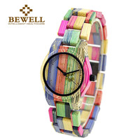 BEWELL 2016 Hot Sell Women Fashion Full Bamboo Wooden Watch Top Luxury Brand Wooden  Quartz WristWatch for Christmas Gifts 105DL