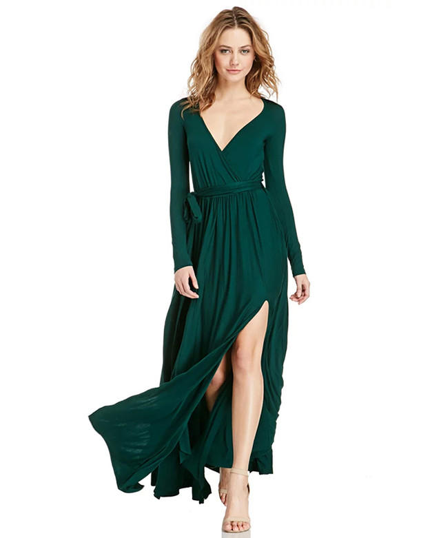 Long v neck maxi dress