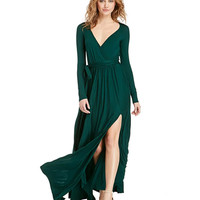 Long Sleeve V-Neck Maxi Dress with Thigh Slit