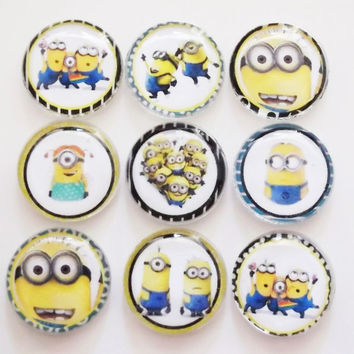Decorative Push Pins, Fridge Glass Magnets, Pushpins or Magnets Set, Despicable Me Minions