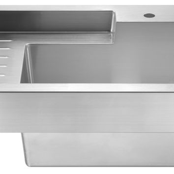 Pearlhaus single bowl drop in utility sink with drainboard
