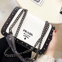 PRADA High Quality Fashion New Leather Women Chain Contrast Color Shoulder Bag