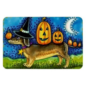 Halloween Magnet with Weiner Dog, Pumpkins