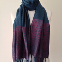 Pashmina Wrap Shawl Scarf Teal Petrol Blue Purple Pink colours Ladies New Large Winter Scarf Warm Cosy