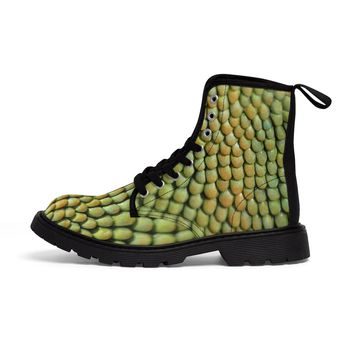 Women's Martin Boots Green Dragon Scale Print