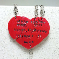 Heart Necklaces set of 4 Always Together Never Apart Polymer Clay
