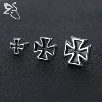 ZS 3 Size Cross Stud Earrings Punk Style Small Ear Jewelry 316L Stainless Steel Earring Vintage Gothic Hip Hop Earings 1 Pair