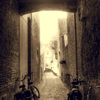 Alleyway, 8x12 Sepia Photograph, Bicycle Hipster Art, Brugge Belgium