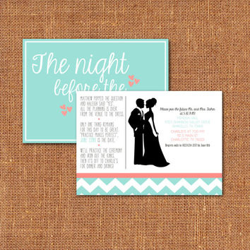 Rehearsal Dinner Invitation DEPOSIT - Printable, Custom - DIY Wedding - Chevron, MODERN, Silhouette, Chic, Teal, Coral,  (Wedding Design #2)