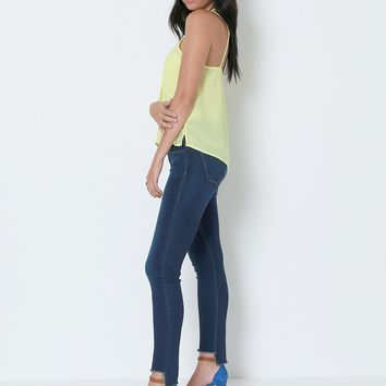 Lost Mind Cropped Skinny Denim Jeans -  Blue
