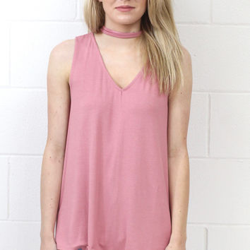 Choker Modal V-neck Cut Out Tank {Dusty Rose}