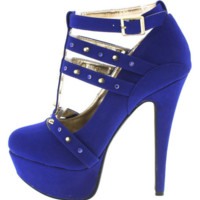 Dollhouse Spiked Cobalt Blue Heels