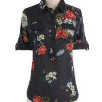 Blouse Party Top in Fall Floral | Mod Retro Vintage Short Sleeve Shirts | ModCloth.com
