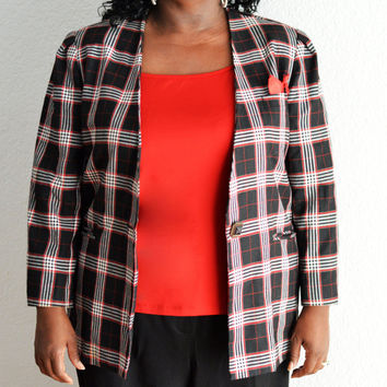 Sale 90's Vintage Plus Size Plaid Jacket with Breast Pocket and Handkerchief