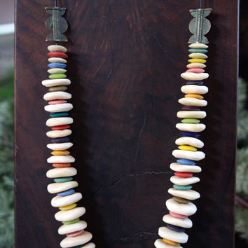 African Rainbow Necklace Recycled Glass Discs in Muted Pastels w Large Creamy White African Bone Discs Colorful Ethnic Boho Jewelry
