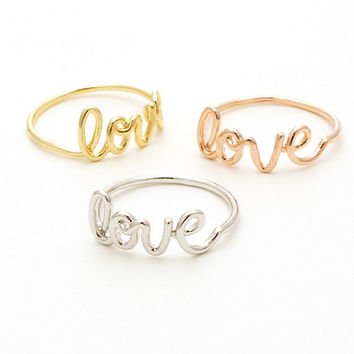 Love Script Ring / love ring, love letter ring, couple ring, friendship ring, best friend ring, cute ring, Valentines Day / R019