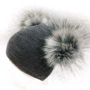 children's winter infant newborn baby kids faux fur wool hat cap beanie with 2 two double pom pom beanie for boys and girl 0-3 Y