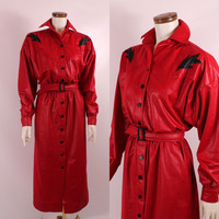Vintage 80s - Rodeo Queen - Red & Black Button Up Belted - Long Maxi Dress - Country Western - Tregos Westwear