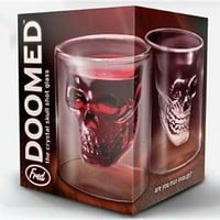 Crystal Skull Head 2 Oz Shot Glasses Halloween Zombie Party- By Fred & Friends