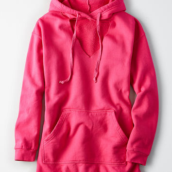 Don't Ask Why Choker Hoodie Dress, Hot Fuchsia