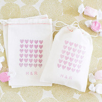 Personalized 10 Heart Monogrammed Wedding Favor Bags