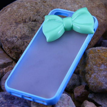 Candy Blue Bow Know Iphone 5 Cover ,Custom Iphone Hard Case 5