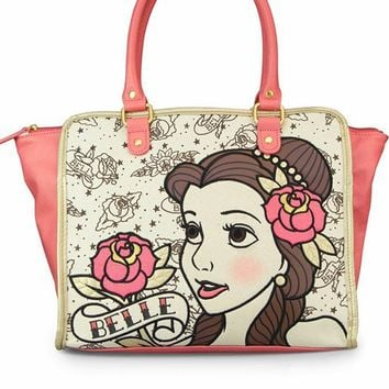"""Belle Tattoo Princess"" Tote Bag by Loungefly (Biege/Pink)"