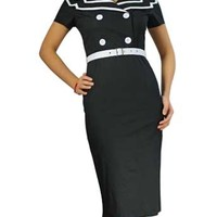 Black Sailor Plus Size Pin Up Dress 1950s Vintage Inspired Dresses