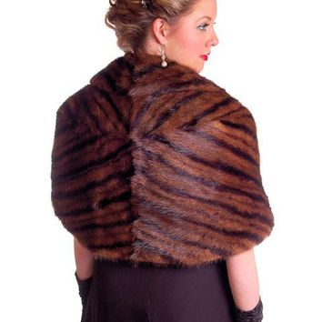 Vintage Stole Kolinsky Mink Fur Gorgeous Bamboo Print Turquoise Lining 1940s