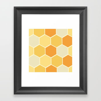 Yellow Honeycomb Framed Art Print by spaceandlines