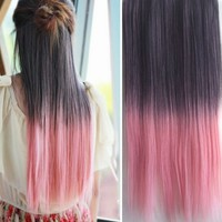 Uniwigs Ombre Dip-dye Color Clip in Extension 60cm Length Straight for Dreamlike Girls (black to pink)